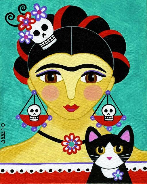 Frida con gato, ilustración de Jil West