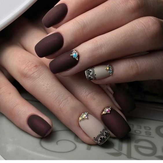 Nails design brown beige matte varnish with rhinestones patterns all materials for manicure sevtao.ru