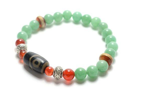 Dragon Eye Protection Tibetan Dzi Bead Jade by FortuneJadeJewelry, £26.00