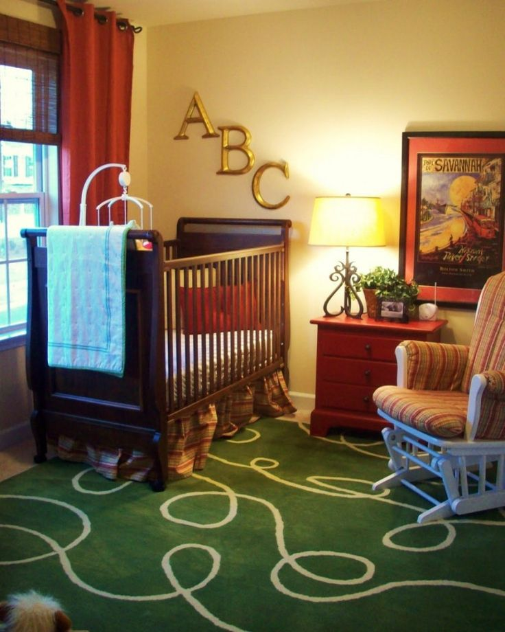 Baby Nursery Fetching Unisex Baby Room Design Ideas With Abc Letter Wall Decoration Including Rectangular Dark Brown Wood Baby Bedding And G...