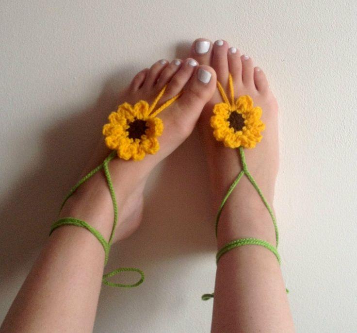 Barefoot sandals crochet barefoot sandals by CrochetedByParis, £8.99                                                                                                                                                                                 More