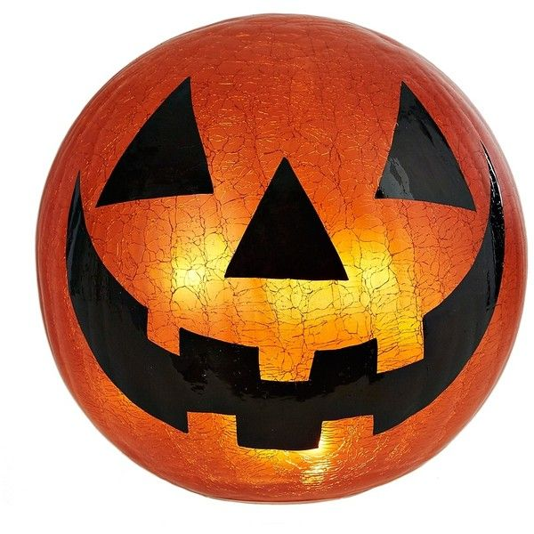 Pre-Lit Jack O' Lantern Crackle Orb ($20) ❤ liked on Polyvore featuring home, home decor, holiday decorations, halloween lanterns, orange home decor, battery powered lanterns, autumn home decor and orange home accessories