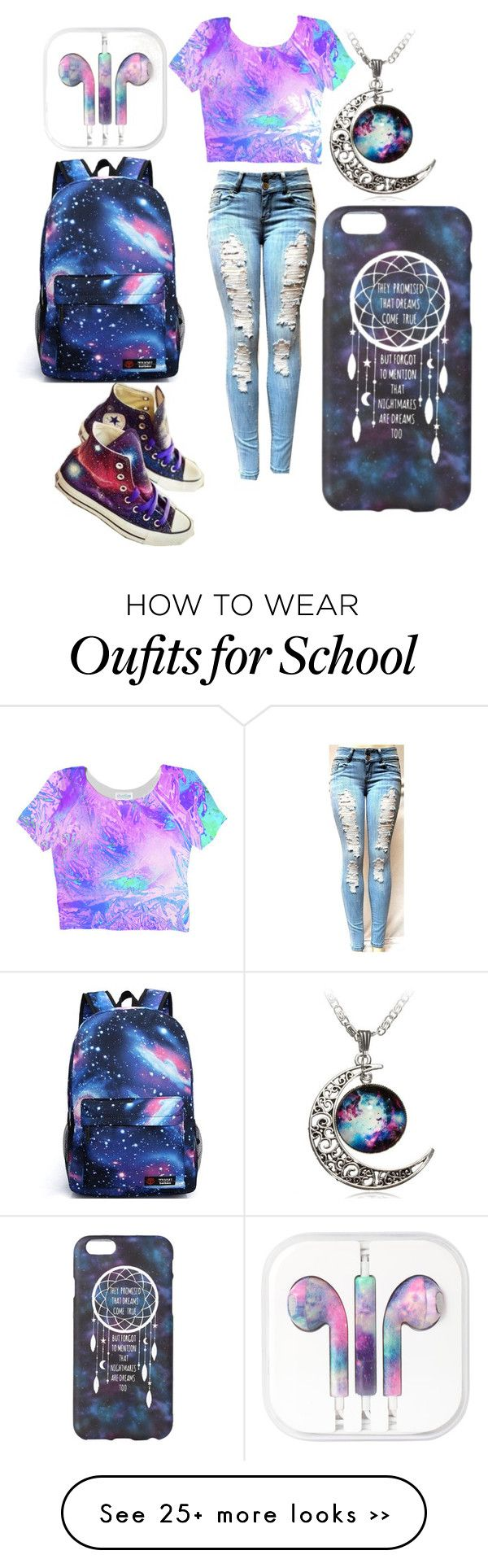"""School galaxy outfit"" by fashionforeveeer on Polyvore"