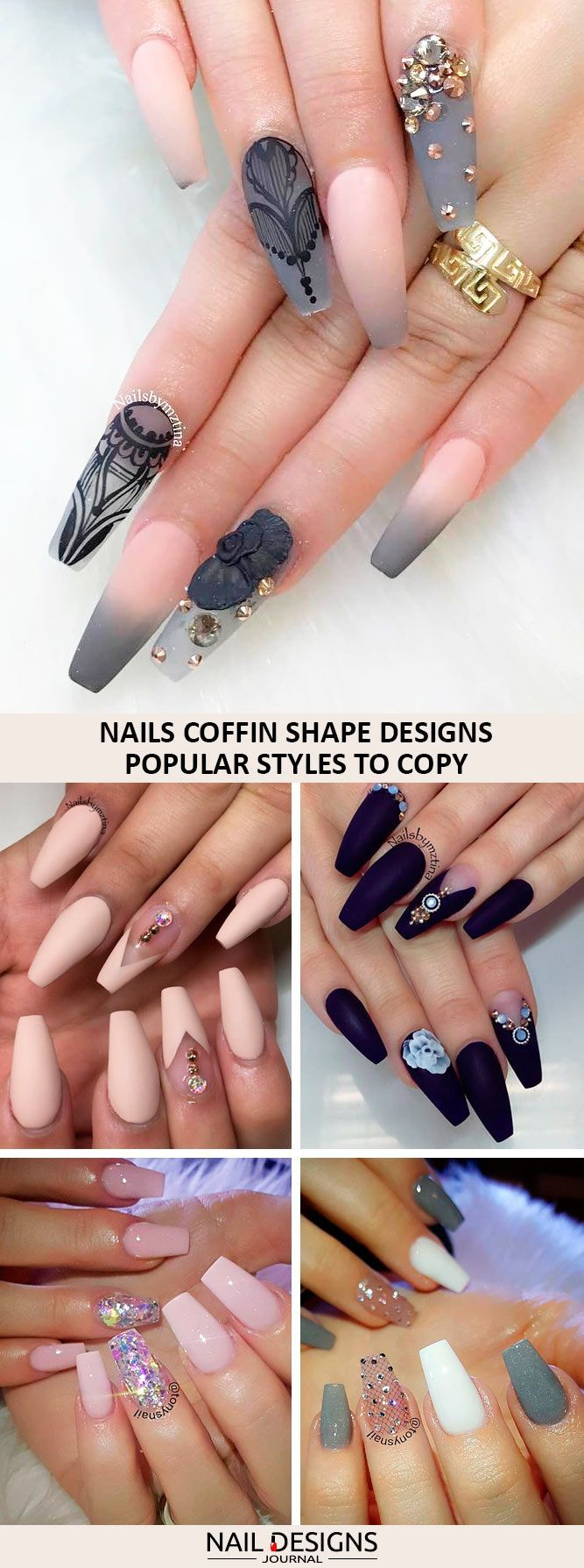 A nails coffin shape is very attractive. Maybe these variants will inspire you to make some experiments with your nails.