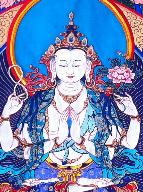 "Tibetan silk thangka, by Tenzin Gyaltsen (""my first tibetan applique teacher"" - LRW) in Dharamsala India"