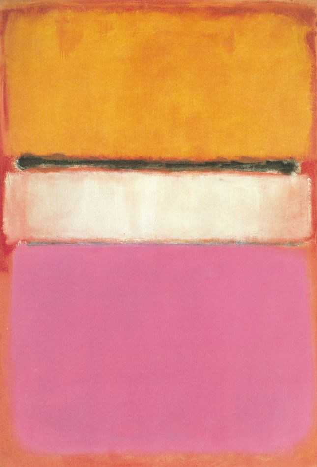 """Mark Rothko's """"White Center 1950"""" mixes two of Tory's favorite colors, orange and pink."""