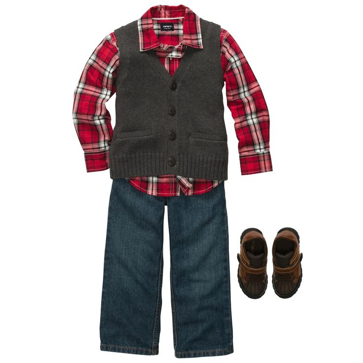 Santa's tree farm holiday outfit from Carters, so stickin' cute.