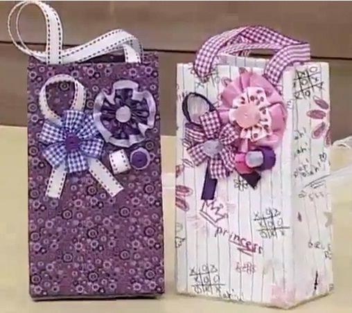 Gift Bag made of Tetrapack.. Tutorial Sacolinhas com Caixas de Leite   Passo a Passo -