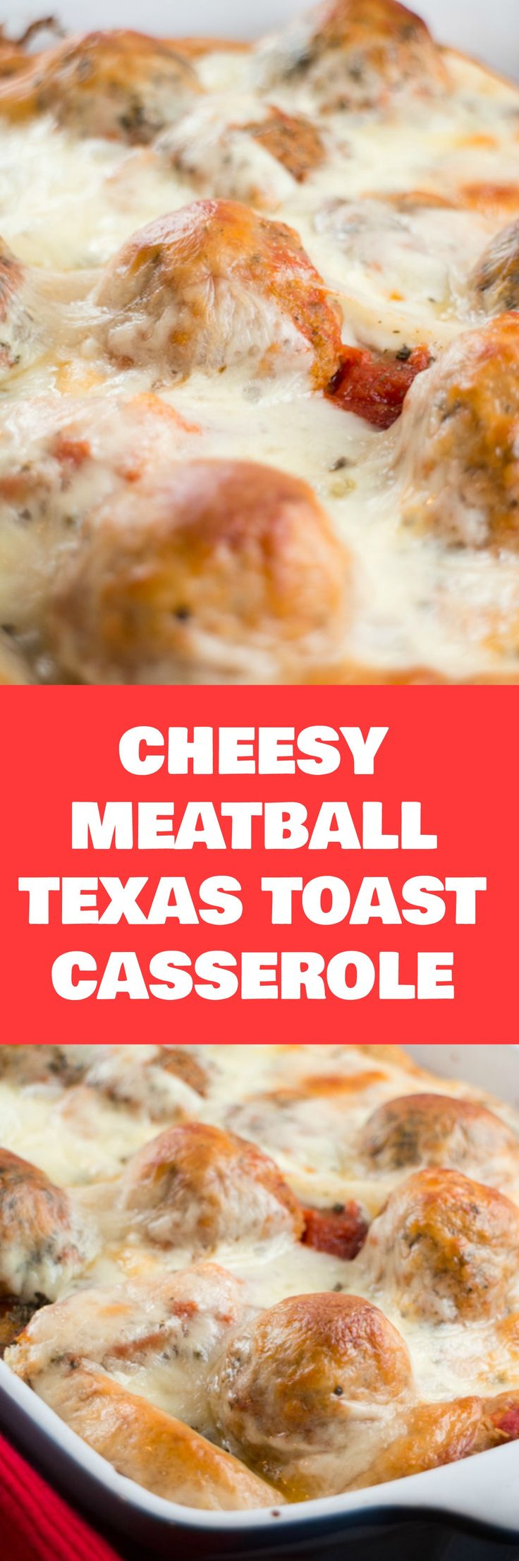 Extra Cheesy Meatball Texas Toast Casserole is a delicious, quick meal to serve your family. Everyone will want seconds! Use precooked meatballs to make it even faster!