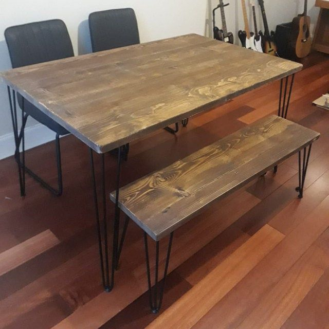 Reclaimed Dining Table With Black Hairpins Choice Of Sizes Colours