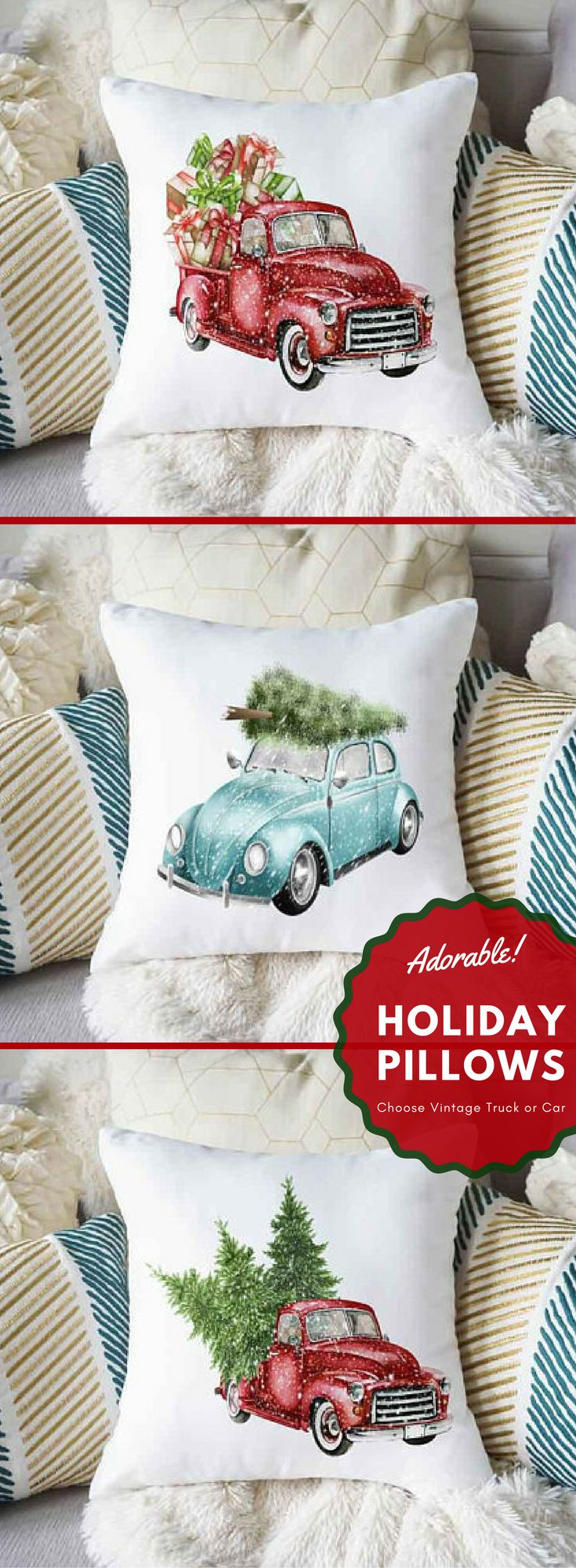 Christmas Pillow, Car Pillow, Vintage Truck Pillow, Red Truck Pillow, Farmhouse Pillow, Farmhouse Christmas Pillow, Tree Pillow, Blue Car Love this rustic vintage look for the Holidays. Perfect way to add a touch of Christmas to your home decor. #Pillow #Redtruck #Bluecar #Vintage #Rustic #affiliate