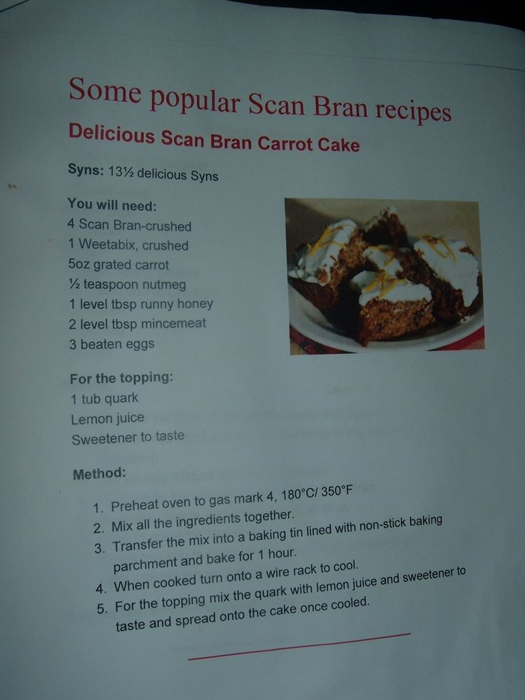 Recipe For Sw Carrot And Scan Bran Cake Slimming World