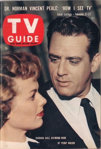 "Barbara Hale and Raymond Burr of ""Perry Mason""  February 21-27 1959"