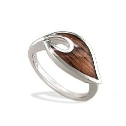 Sterling Silver Maile Leaf Ring with Koa Wood* Inlay  *Koa is the largest endemic tree in Hawaii and exists naturally nowhere else in the world. It was historically used to create carved, ocean-going canoes. This prized wood symbolizes strength and bravery  Na Hoku