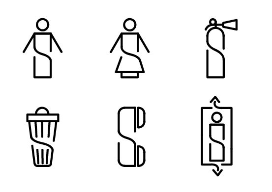Pictograms for hardware warehouse wayfinding system on Behance