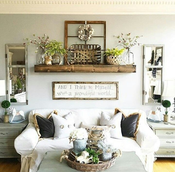 ❤ Around TV/Stand rather than couch. Like floating shelf and shutter mirrors. #mantle_decor_around_tv