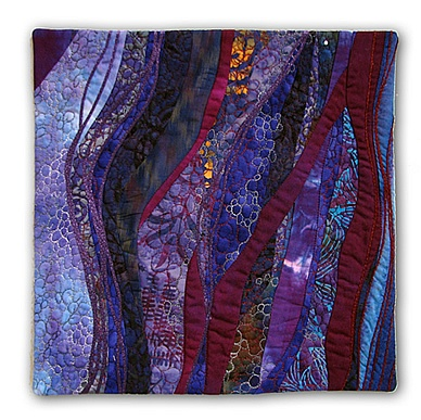 """Hilde Morin,  GRAPE STOMP - 2009     12"""" x 12""""  random curve pieced, machine quilted,  jute and silk couching"""