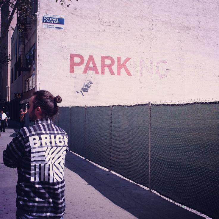 """Park"" #Banksy's downtown Los Angeles mural. #BRICK"