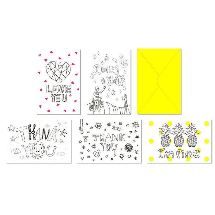 DesignComfics Illust PostCard Set (5Cards) Coloring Card #BEONO #AnyOccasion