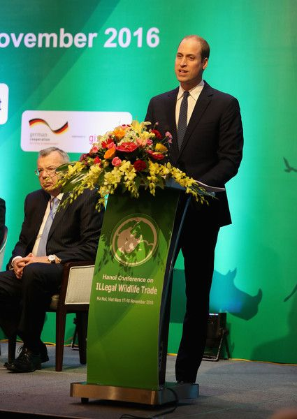 Prince William, Duke of Cambridge gives a speech as he attends the 3rd International Conference on the Illegal Wildlife Trade during a two day visit to Vietnam on November17, 2016 in Hanoi, Vietnam