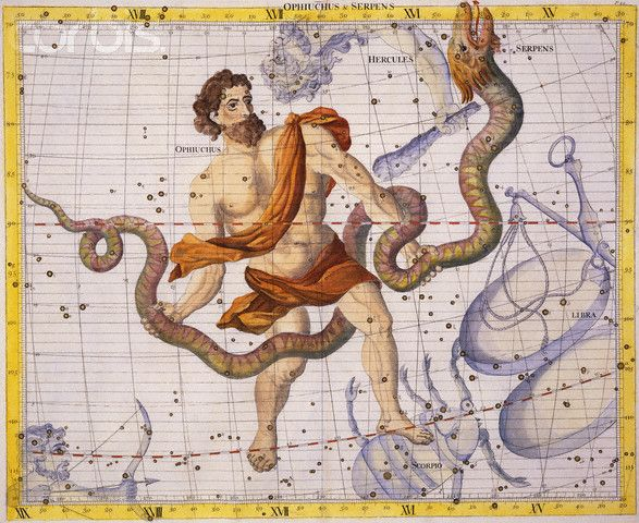 13th Zodiac Sign! Ophiucus! In mythology, Ophiucus is identified with the healer Asclepius, the son of Apollo, who was able to bring the dead…. ||  When adding this sign, the new division of the signs on the calendar makes my husband an Ophiucus.