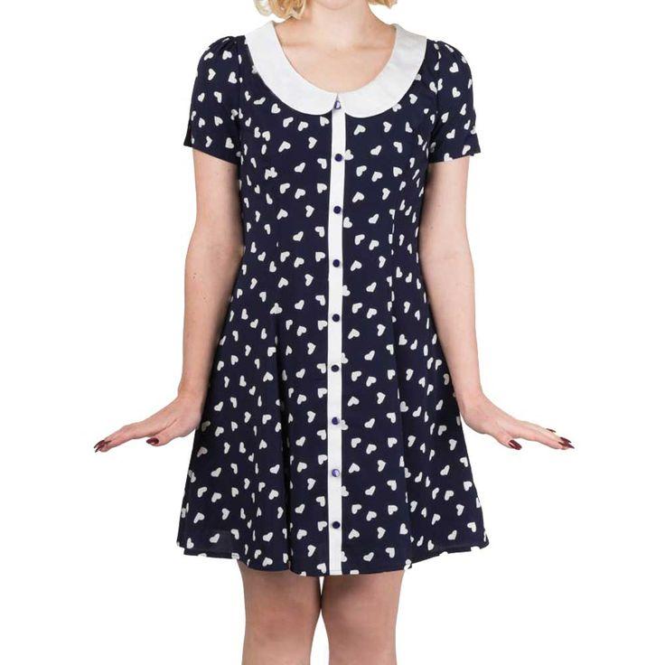 Set Sail jurk met kraag en harten print marine blauw/wit - Vintage Retro Rockabilly