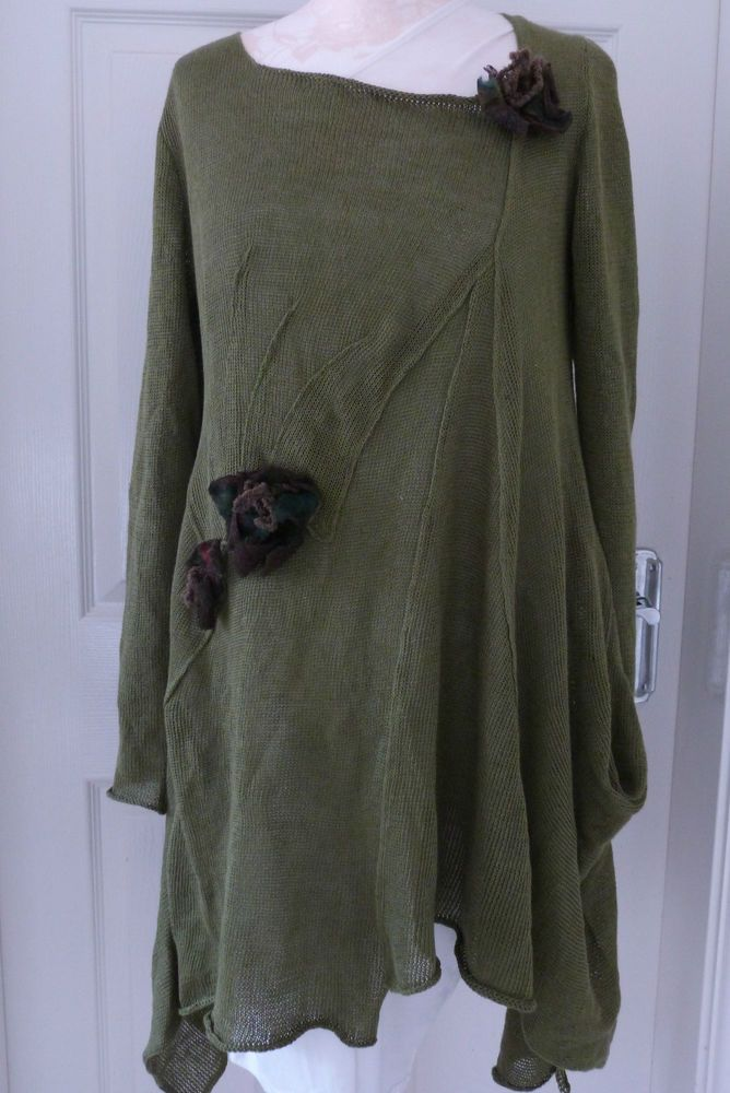 fabulous ZUZA BART quirky layering tunic/jumper 100% LINEN medium sage SALE in Clothes, Shoes & Accessories, Women's Clothing, Jumpers & Cardigans | eBay
