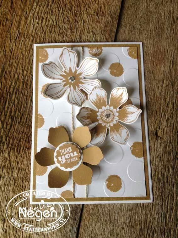 Stampin' Up! Beautiful Bunch stamp set, Startburst Sayings stamp set, Polka Dot embossingfolder and Fun Flower punch By Atelier Negen