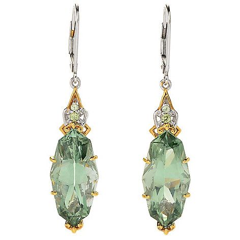 "169-530 - Gems en Vogue  1.75"" 14.10ctw  Prasiolite &  Peridot Drop  Earrings"