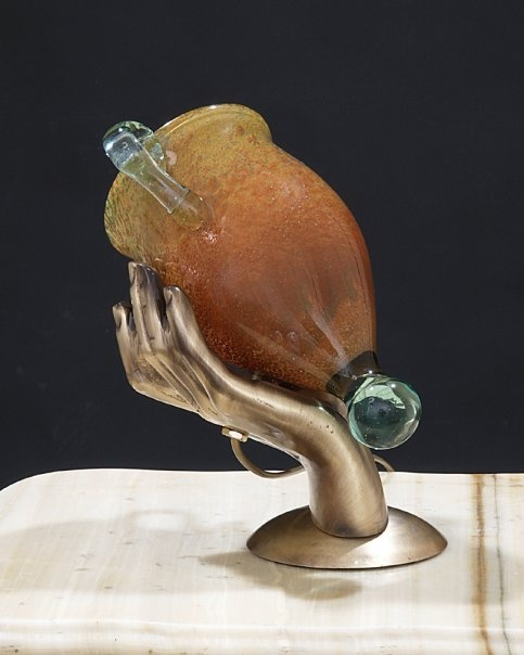 Series Hand. Casted Brass with Amphorea Blown Glass.