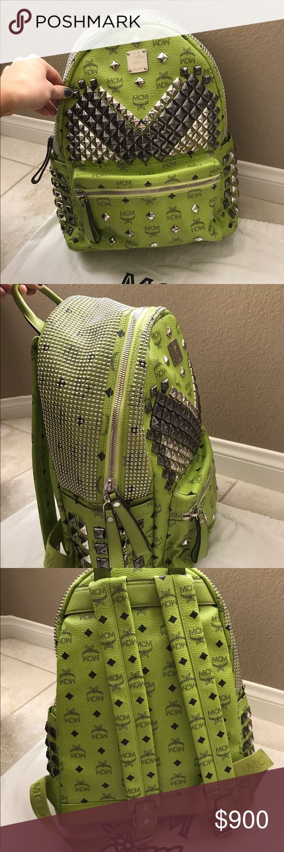 MCM lime large backpack with Silver/Grey hardware This back is awesome! It was a very limited color I have the original tags and it listed for $1570.00 before tax it's in great condition some of the metal still has plastic on it! I'm letting it go for a very good price and I literally wore it like twice it's in really good shape I am pregnant again and need the cash so I'm selling it  NO Trades! I have original tags the  dust bag and gift receipt and I have more pics if you need them emailed…