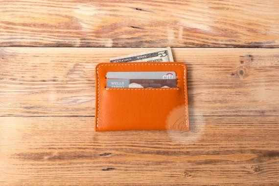 leather wallet card holder wallet orange leather wallet credit card wallet minimal wallet credit card holder slim wallet thin wallet orange