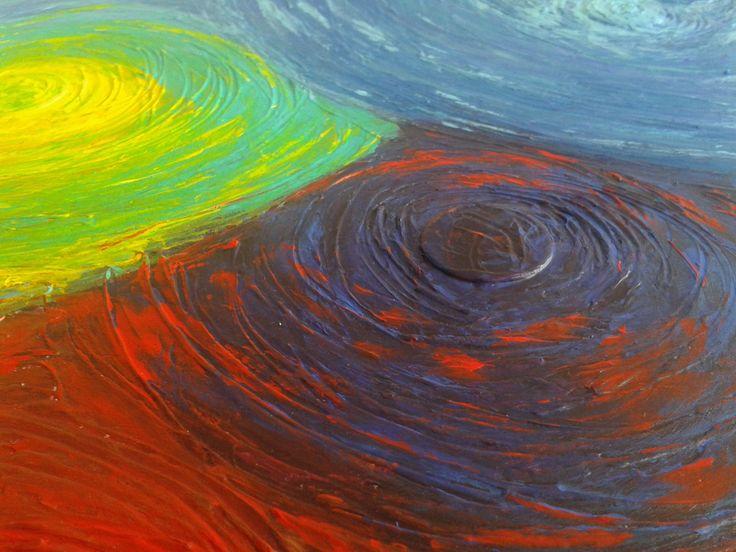 détail de tableau. Rotation, ondes colorées. #paint #color http://www.pigmentropie.fr/2016/02/irradier-couleurs-tableau-elize/