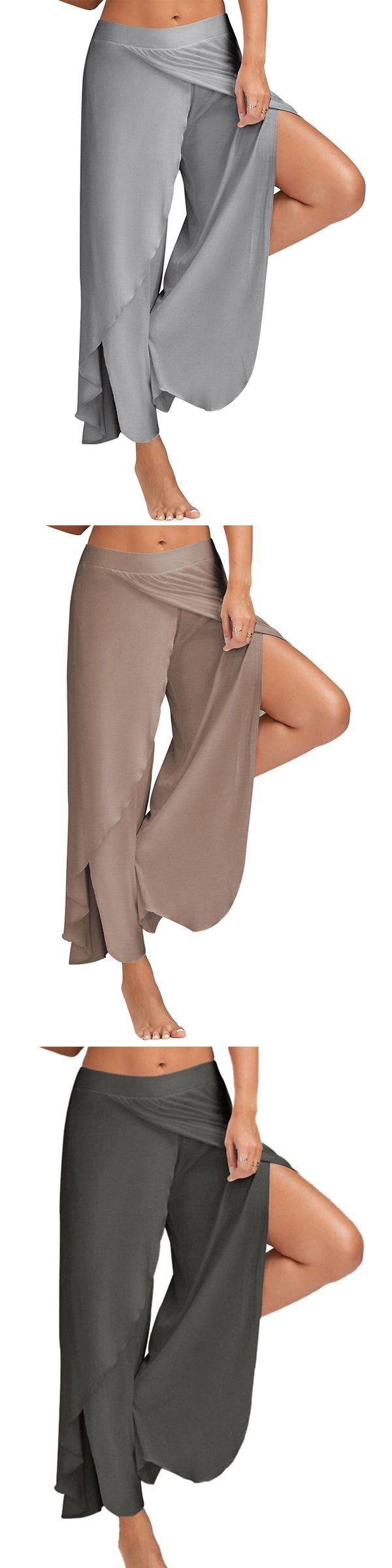 US$ 16.99 Women Casual Loose Solid Color Elastic Waist Slit Wide Leg Pants