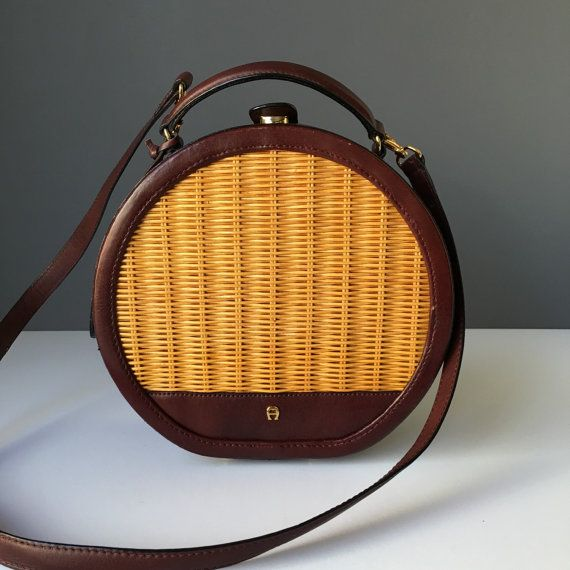 Vintage Etienne Aigner Round Leather and Wicker Purse or Handbag, Crossbody, 1970s Red Mahogany or Oxblood Leather Love this! In great condition