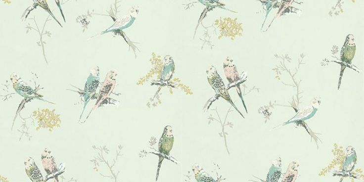Chirpy Aqua (BL-1201-02) - Blendworth Wallpapers - Pretty little multi coloured budgerigars cutely perched on blossom twigs – creates a sweet all over design.  Budgies in blue, soft pink, and greens on an aqua green background. Please request sample for true colour match.