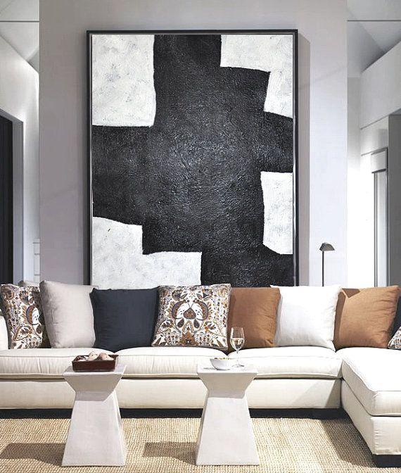 Hand Painted minimal art on canvas, minimalist painting, black and white geometrical art from CZ ART DESIGN. @CeilneZiangArt