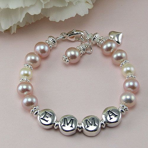 BeadifulBABY :: Emma™ by True Heirlooms™ - Sterliing Silver and Freshwater Cultured Pearl Baby, Child, Girls Bracelet – Add a Name and Birthstone to Personalize