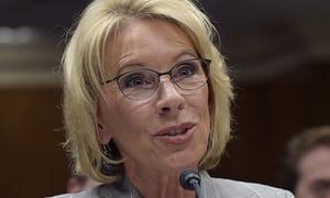 Senate strikes amendment giving tax exemption for Betsy DeVos's old college after Democrats raised a hullabaloo.| US news | The Guardian