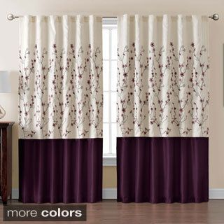 VCNY Sidney Embroidered Color Block 84-inch Curtain Panel | Overstock.com  Shopping -