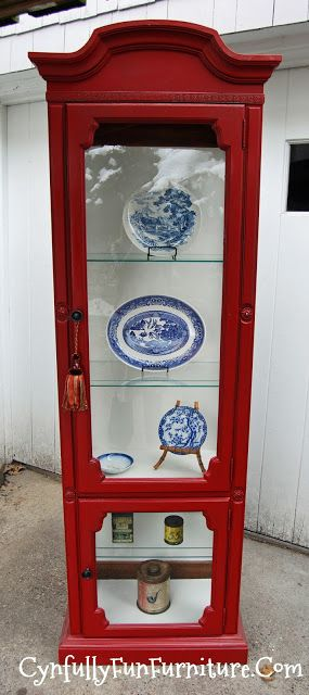 A red curio cabinet I painted