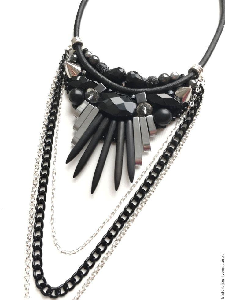 Купить Колье на кожаном шнуре с гематитом и агатами - черный, колье ручной работы, колье