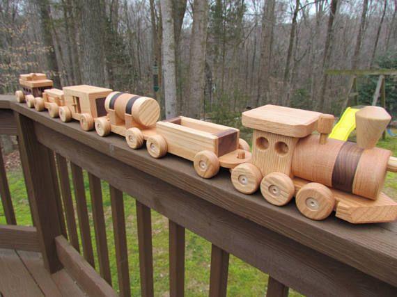 Tren de juguete madera juguete determinado de 6 coches a mano