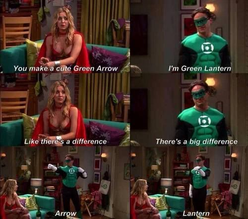 Leonard & Penny Big Bang Theory difference between Green Lantern & Green Arrow lol