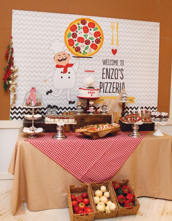 Adorable Italian Style Pizza Party {Kids Birthday} could use at bertolli's or make your own pizza party