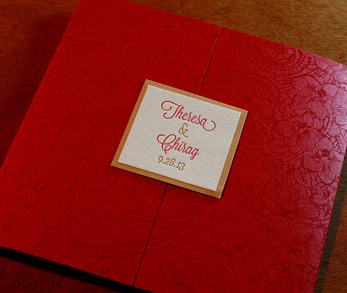A Custom Printed Pocket Folder In Our Mai #wedding #invitation Design With  A Letterpress