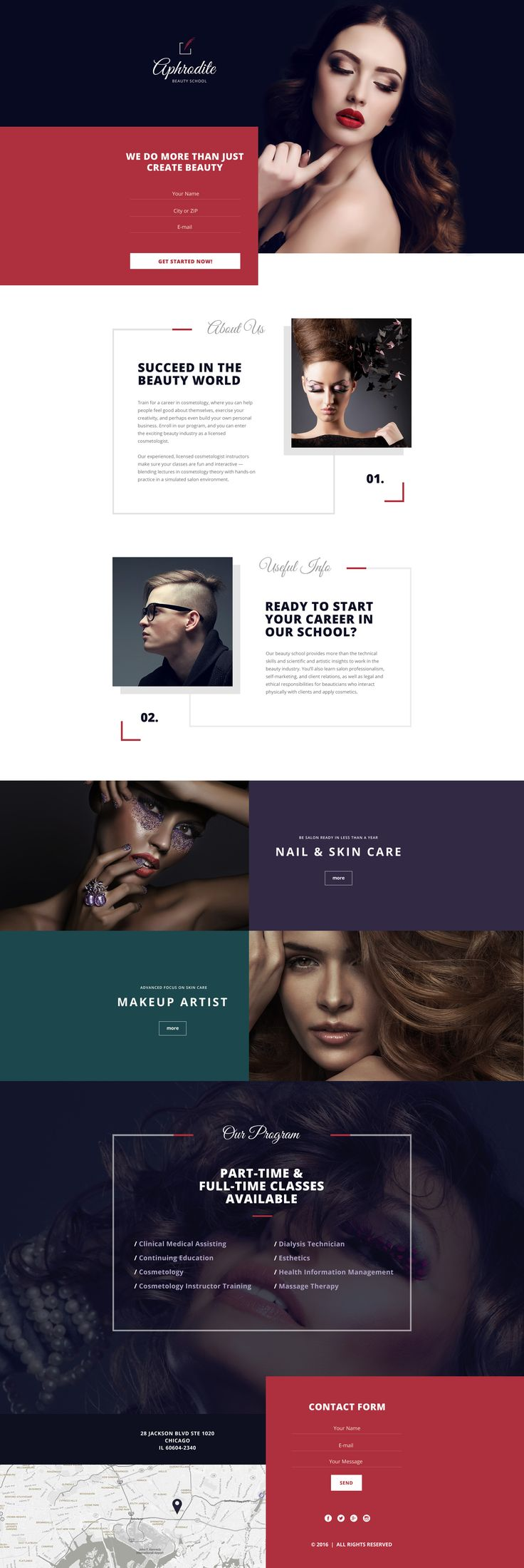 Beauty School Landing Page Template #58406