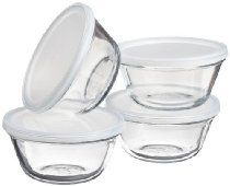Kitchen Supply Set of 4 6 Ounce Glass Custard Cups With Snap On Lids