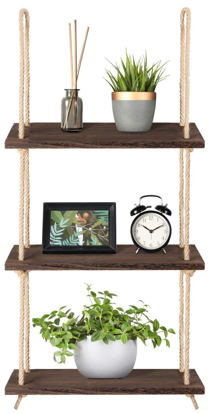 2 Tier Mkono Wood Hanging Shelf Wall Swing Storage Shelves Jute Rope Organizer Rack