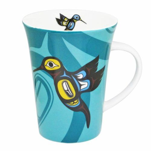 Porcelain ' Hummingbird Mug ' featuring native Indian inspired artwork